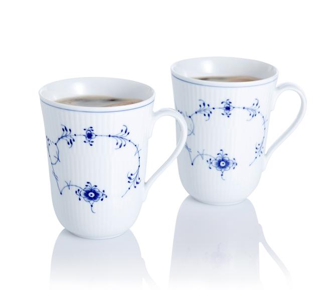ROYAL COPENHAGEN Gerippt Signatur Set mit 2 Kaffeebecher